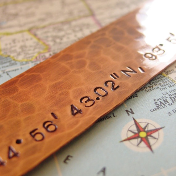 Latitude Longitude Bookmark Hand Stamped Hammered Copper