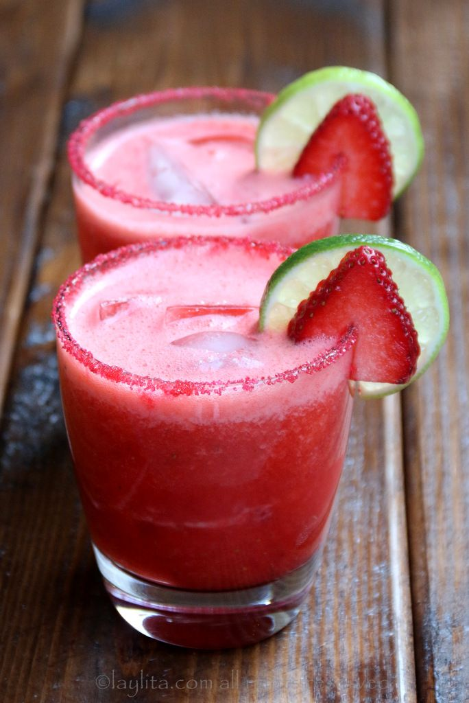 Strawberry Margarita Recipe | Homemade recipe made with fresh strawberries, lime juice, sugar or honey, orange liqueur, and tequila!