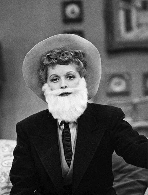 I Love Lucy...Ricky has a moustache, Lucy has a beard!!