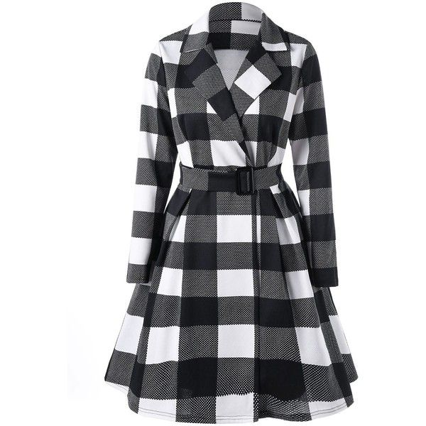 Plaid Notched Collar Skirt Coat ($24) ❤ liked on Polyvore featuring outerwear, coats, rosegal and jackets