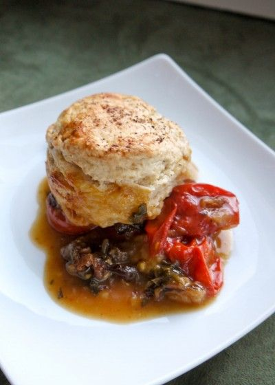 Tomato Cobbler with Blue Cheese Biscuits | Yum Yums | Pinterest
