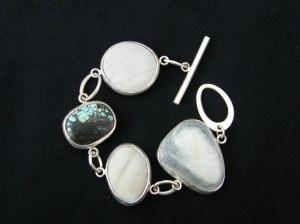 Pebble and turquoise bracelet, handmade by Jenny Kaberg