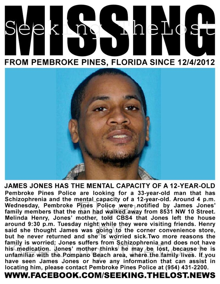 12/6/2012: Pembroke Pines, Florida: Police are looking for a 33-year-old man that has Schizophrenia... pinned with Pinvolve