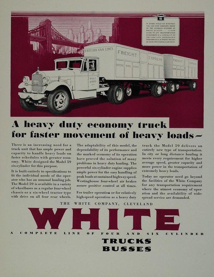 ad vintage white truck model  semi trailer original advertising advertising
