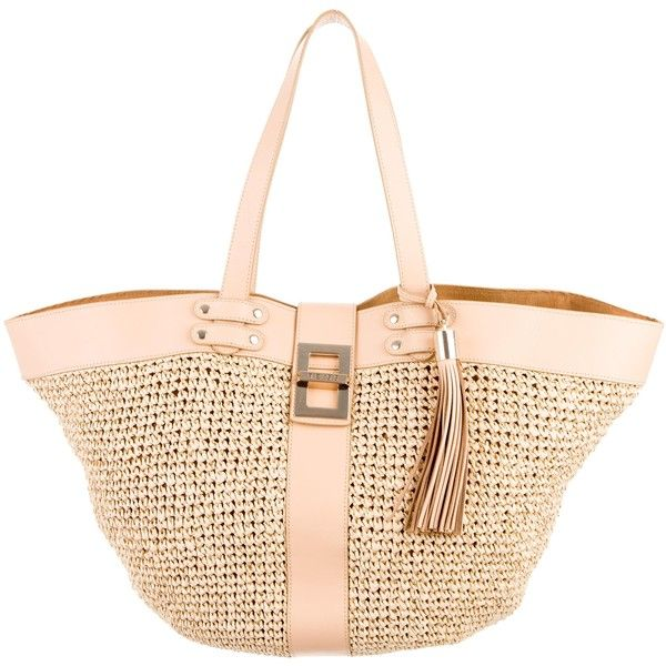 Pre-owned Reiss Leather-Trimmed Raffia Tote (840 HRK) ❤ liked on Polyvore featuring bags, handbags, tote bags, gold, tote handbags, zip tote, hand bags, man tote bag and white purse