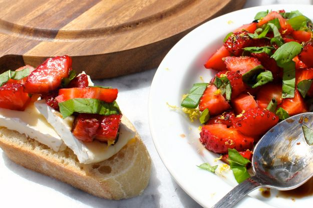 Strawberries, Basil, Lemon Zest & Balsamic Vinegar with Brie {From ...