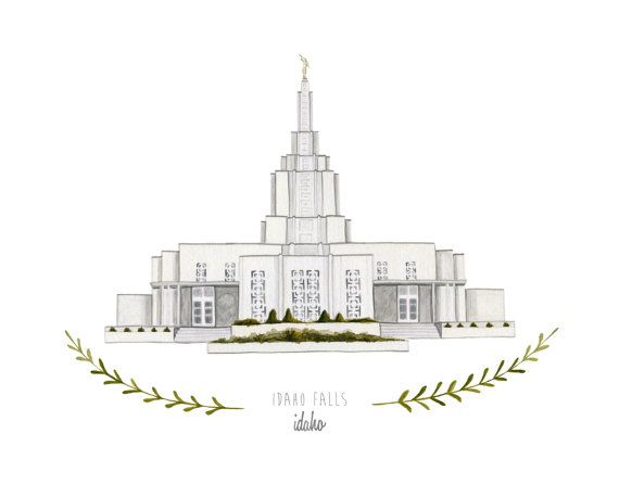 Idaho Falls Idaho LDS Temple Illustration - Archival Art Print