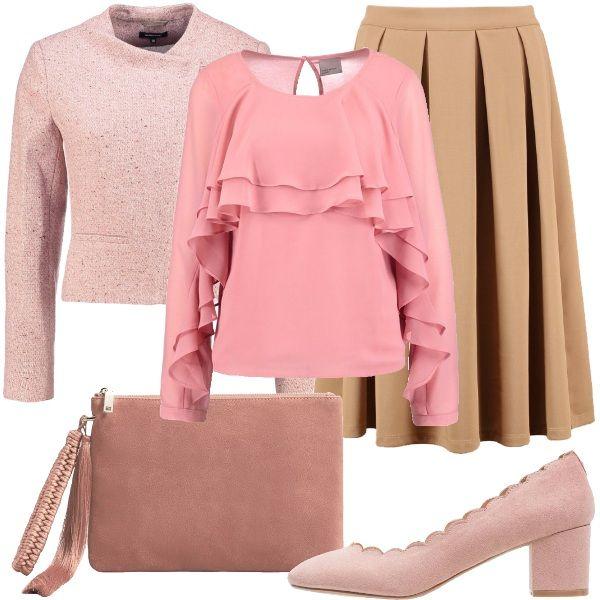 Sei uninguaribile romantica e lamore ti sorriderà. Indossa questa magnifica blusa, con ruches sul petto e sulle maniche. Abbinala alla gonna a piegoni, color sabbia. Indossa il blazer a maniche lunghe, con chiusura asimmetrica, le scarpe con tacco comodo e quadrato, a punta tonda, color rosa cipria e la pochette rosa in pelle. Se hai freddo puoi indossare anche un cappotto color sabbia o rosa cipria.