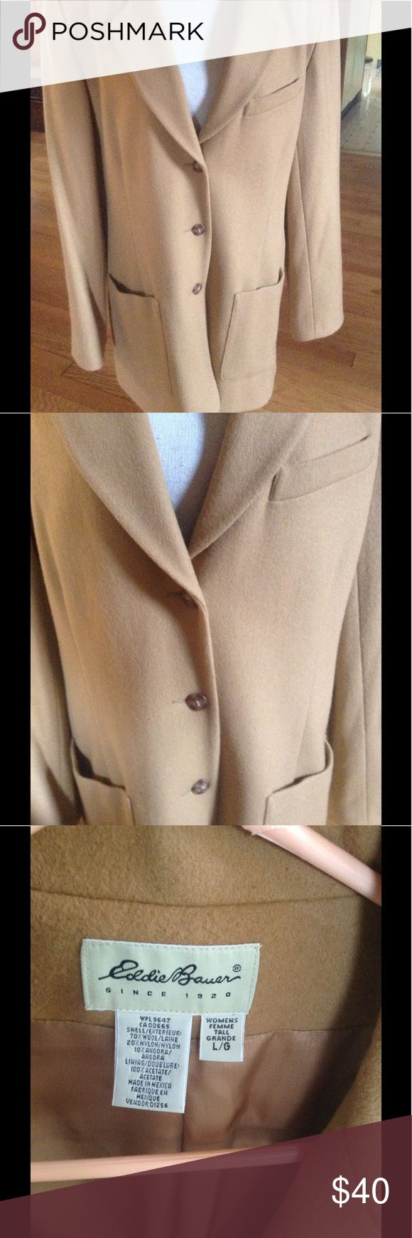🌻EDDIE BAUER WOOL ANGORA BLEND LINED LADIES COAT Eddie Bauer wool angora blend fully lined button down coat. Size is LADIES LARGE. Beautiful camel color, buttons down, two front pockets. Classic addition to your wardrobe. From a smoke and pet free home. Thank you for looking!🌻🍁🌻🍁 Eddie Bauer Jackets & Coats Pea Coats