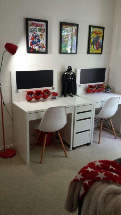 Our Kids New Study Setup Micke Ikea Desks With A Bit Of DIY Modification Added Backboard Cut