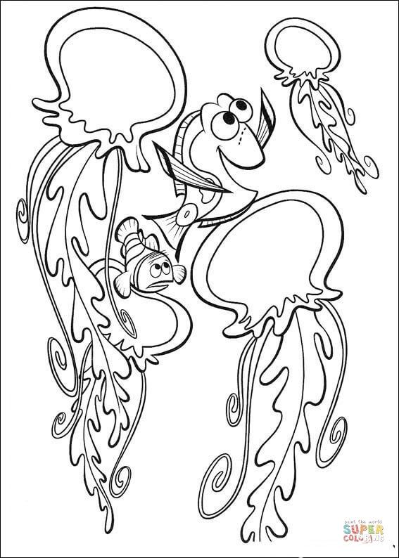 Dory Is Playing With Dangerous Jellyfish Coloring Page Free Printable Coloring Pages Nemo Coloring Pages Finding Nemo Coloring Pages Disney Coloring Pages