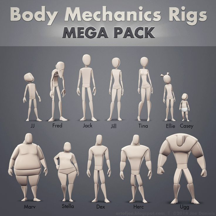 **Update: The rigs have been updated with new features! Here they are, all 12 of them! These Maya rigs are perfect for honing in on body mechanics and acting as you develop your character animation skills. http://vimeo.com/joedanimation/bodymech. Here's a longer walk through, showing the key new features: http://vimeo.com/joedanimation/bodymech-update1. They will work with Maya 2014 and up, and come with an AnimSchool Picker that can be mapped to any of the rigs by changing the namespace…