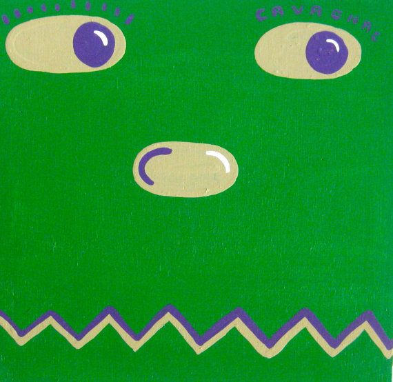original painting / Krusher / 4243 / big eyes by InvisibleFountain (Art & Collectibles, Painting, Acrylic, face, happy, green, monster, wrestling, comics, silly, cartoon, square, simple, affordable, original, painting)