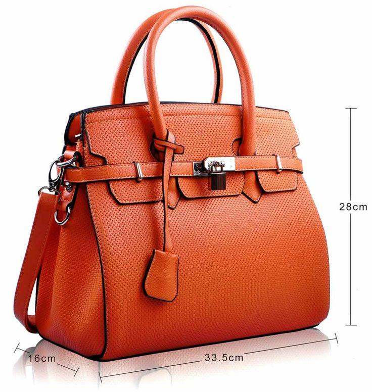 Birkin style handbag in orange