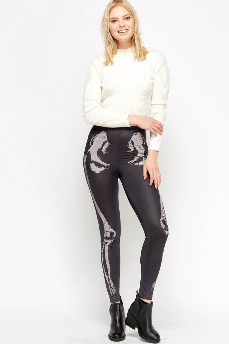 Sexy Faux Leather Leggings : GREY/LIGHT GREY