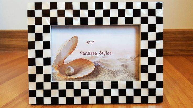 Handmade Genuine White Mother of Pearl Shell Black and White Picture Frame 4X6