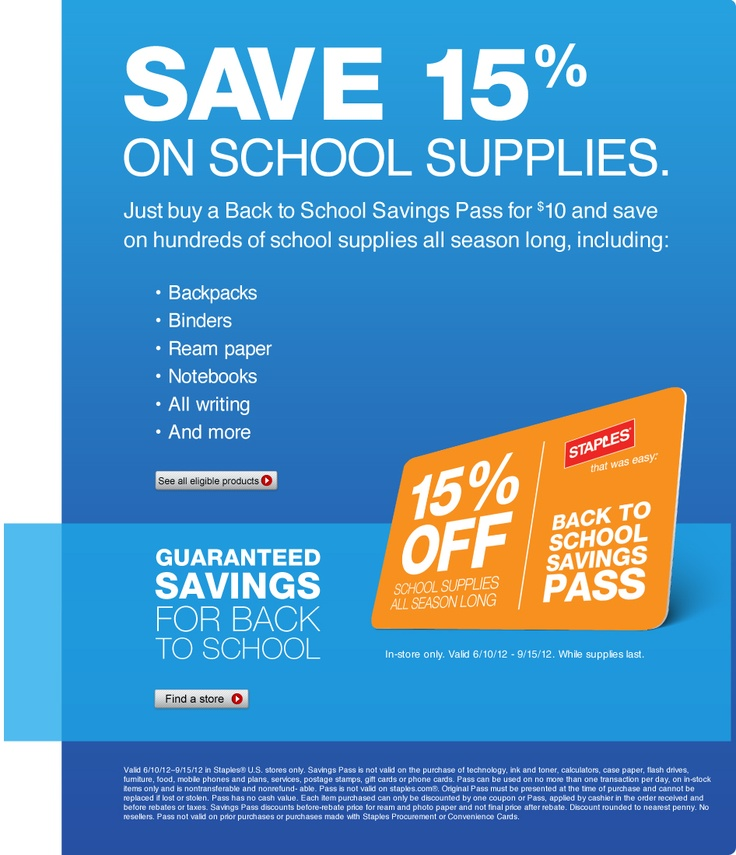 Save 15% on school supplies with Staples Back to School Savings Pass. for 3 months! | Staples.com®Backtoschool, Back To School