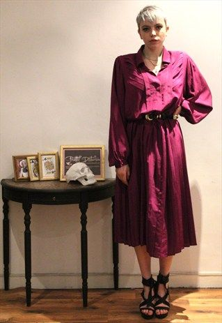 £25.00...1980's Vintage Victoriana Purple Long Evening Dress  This is a gorgeous hand picked vintage item by Pretty Disturbia, perfect to wear day or night. It can easily be dressed up or down!   FABRIC: 100% Polyester  DETAIL: Long sleeve dress, Fully flared at the bottom,  pleated on bottom part of the dress,Buttons, Padded on Shoulders, Buttoned on cuffs, Top part of shirt layered pleating, Bat wing sleeves  SIZE- would fit an 8/ small 10  WASHING INSTRUCTIONS- Hand Wash only  MODEL…