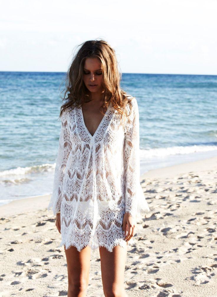 Breathtaking lace beach coverup. Melissa Odabash Beachwear Collection 2013.
