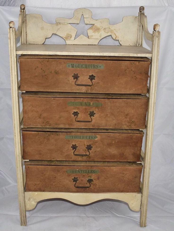 ANCIEN CARTONNIER MERCERIE GANTS MOUCHOIRS DENTELLES VOILETTES BOIS XIXe SIECLE | eBay