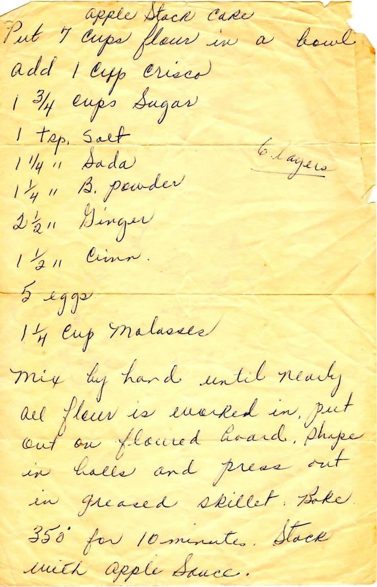 Appalachian Ancestry Journal: Family Recipe Friday-Apple Stack Cake