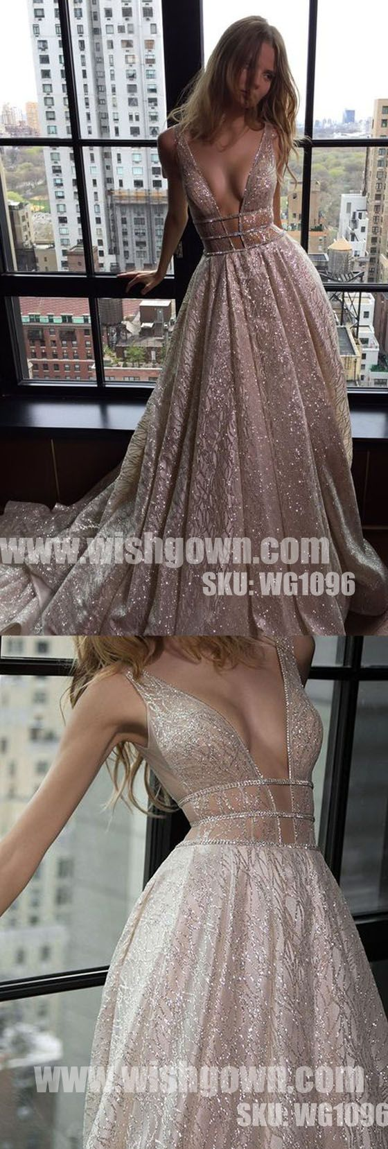 Sexy Deep V Neck Sparkly Popular Evening Formal Lo… -  Prom shopping is alive and well on Pinterest. Compare prices for this @ Wrhel.com before you commit to buy. #Prom