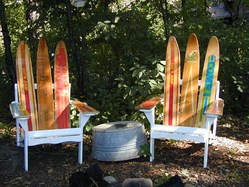 Lakeside Chairs made out of Antique water skis .