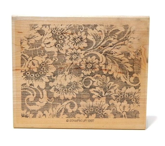 Rubber Stamp Stampin Up Lavish Lace Background Wood Mounted Retired 1997 #StampinUp #Background