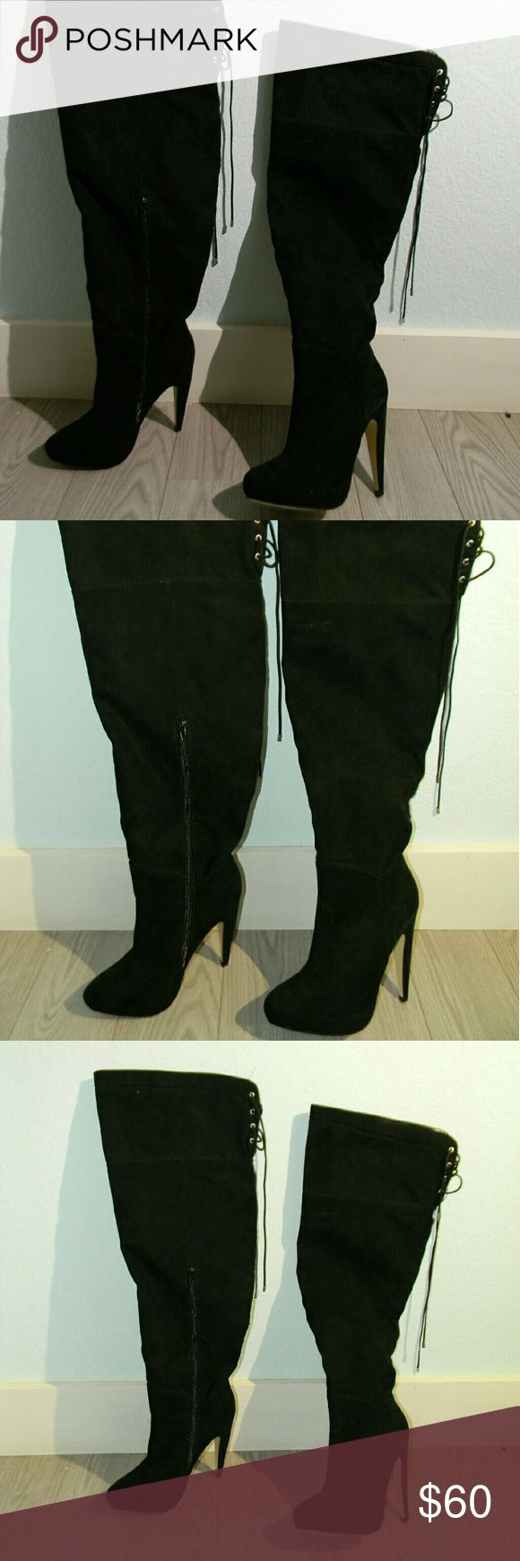 Wide Calf Knee High Black Boots Super stylish and sexy! Never worn out.. brand new. Wide Calf.. Shoes Over the Knee Boots