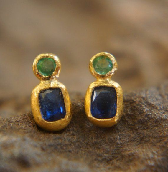 "Natural Emerald tourmaline  topaz gemstone earrings solid 18k gold 1/"" leverbacks"