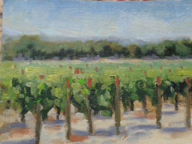 """A grapevine.aulnay france.oil on oil paper.8""""x10""""."""