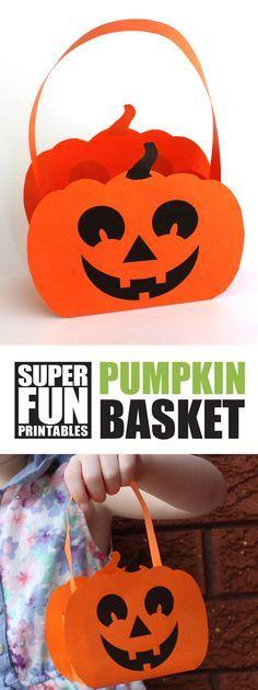 Free printable paper pumpkin basket for kids