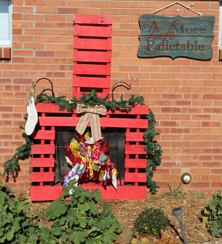 I made this pallet fireplace for the my son's Cub Scout Christmas Parade Float last year.