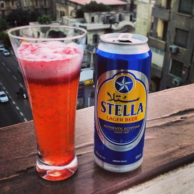 Strawberry juice & Stella at sunset: the easiest #Cairo drink there is.