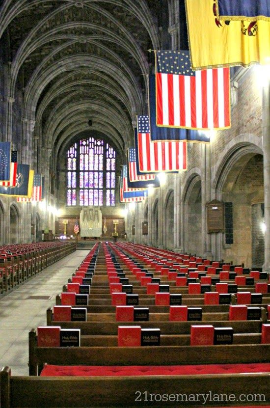 Interior of West Point Military Academy Chapel located in the Hudson Valley, New York state, USA.