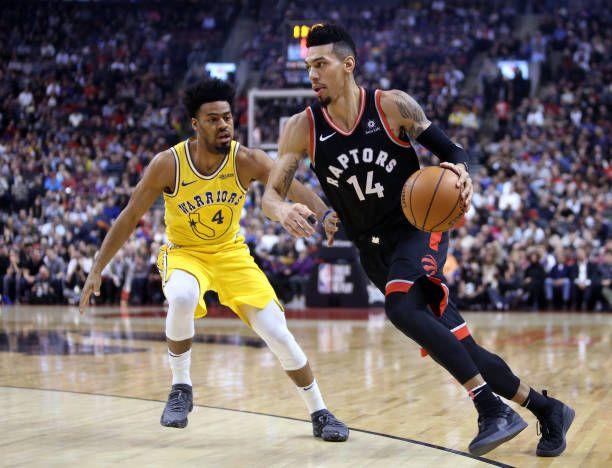 Danny Green Of The Toronto Raptors Dribbles The Ball As Quinn Cook Of Toronto Raptors Raptors Nba Champions