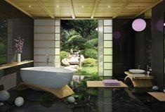 Asya tarzı banyo rahatlamak için