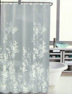 Hillcrest Shower Curtain Floral Border Print Grey White Leaves Silhouette    NEW | Yellow Bathrooms, Floral Border And Leaves