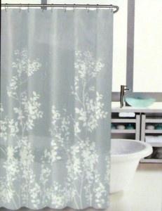 Hillcrest Shower Curtain Floral Border Print Grey White ...