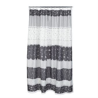 The stylish Jurmo shower curtain grey-white from Marimekko gives your bathroom a new look in a minute. The wonderful pattern is designed by Aino-Maija Metsola and is inspired by layered stones on a remote Finnish island. The grey tints feel very fresh in the bathroom and are easy to match with different towels from Marimekko!