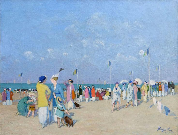 'Foule sur la plage de Deauville' by Gustave Poetzsch