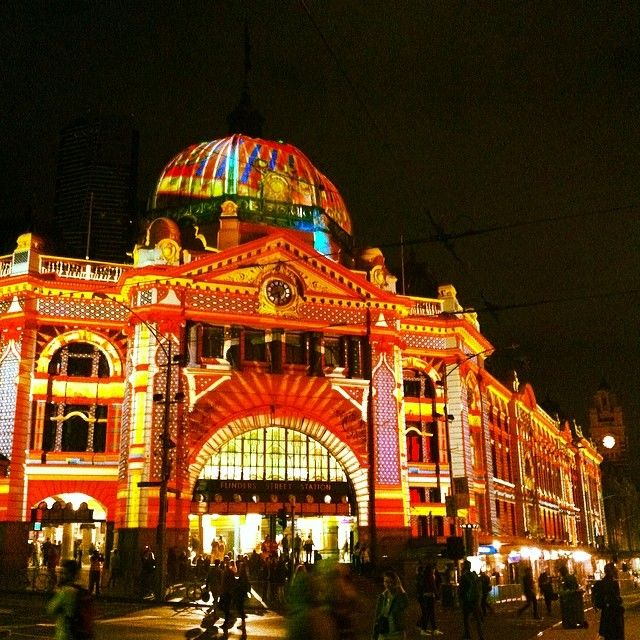 Melbourne's Flinders Street Station during White Night 2014. #Australia #art #architecture #projection #lighting