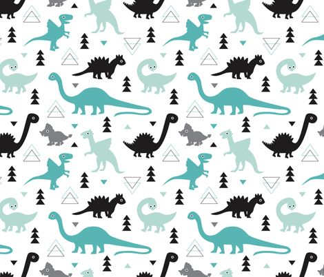 Adorable boys fabric with black and blue dinosaur geometric triangles and funky animal illustration theme for kids fabric by littlesmilemakers on Spoonflower - custom fabric