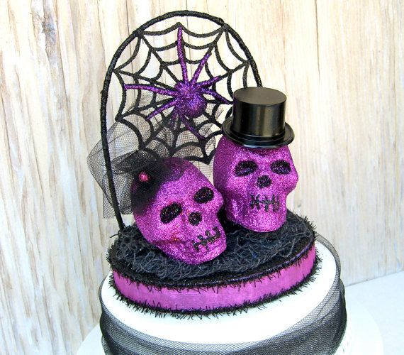 Halloween Wedding Cake Topper Skulls OOAK Black And Purple
