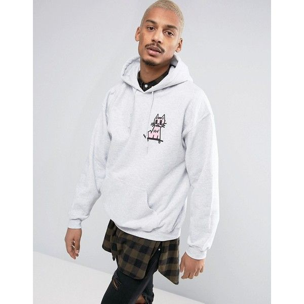 New Love Club Kitty Skate Hoodie (58 CAD) ❤ liked on Polyvore featuring men's fashion, men's clothing, men's hoodies, grey, mens sweatshirts and hoodies, mens tall hoodies, mens patterned hoodies, mens hoodies and mens grey hoodies