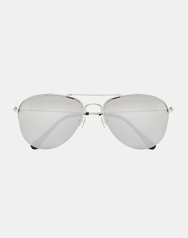 The Idle Man Aviator Sunglasses with Mirrored Lens - Silver - Mens accessories