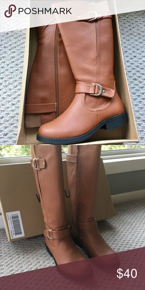 """BNIB Tall Tan Leather Boots Brand new in box! Never worn, tall tan leather boots.  Decorative calf and ankle straps with buckle accents, full inside zipper and wide back gore for fit.  Fabric lining, slightly padded footbed.  Rubber Sole with 1.5"""" heel. Manmade.  Genuine Leather.  8.5W Shoes Heeled Boots #tananklestrapsheels"""
