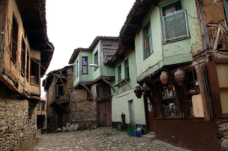 I am endlessly fascinated by Ottoman architecture and I passed a street which had all old fashioned houses. So I took a picture. These houses are made entirely of wood, are two stories high and have no attic but the y have a basement.