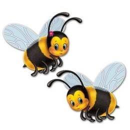 Decoratie Bijen cutouts -  Twee leuke decoratie om op te hangen, tijdens een tropisch zomerfeest. Aan beide zijden bedrukt! Afmeting: 42.5cm. | www.feestartikelen.nl