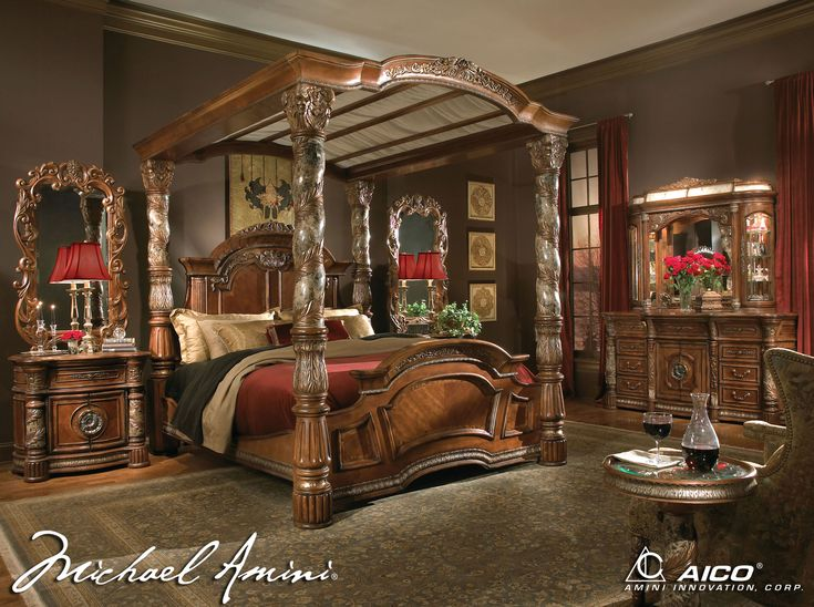 Amazing Canopy Bed   Image Detail For  . Villa Valencia Wood Canopy Bed 5  Piece Bedroom Set In Classic Chestnut